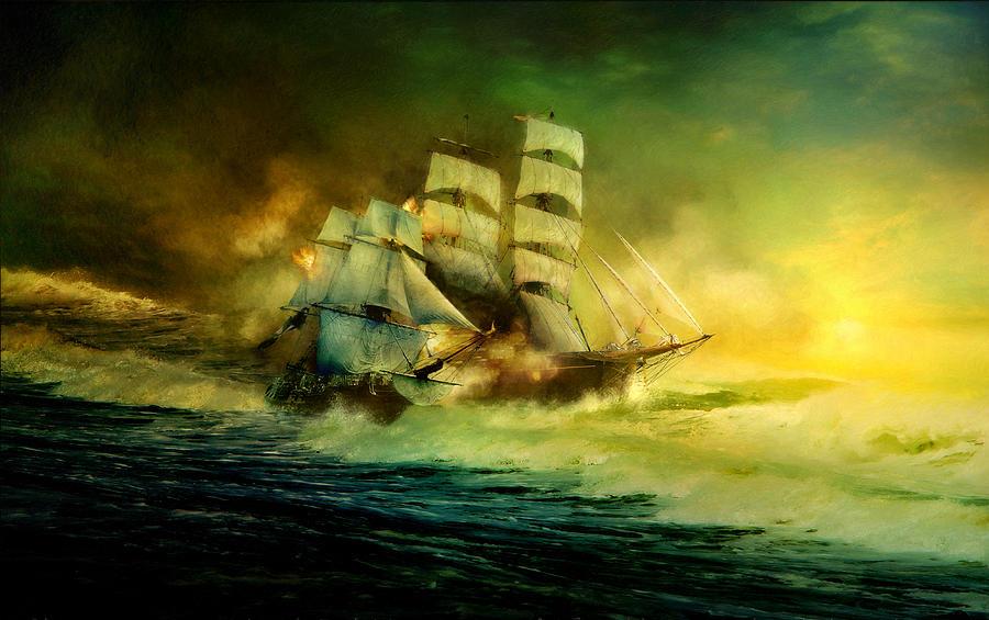 Sea Battle Digital Art by Magdalena Thanais