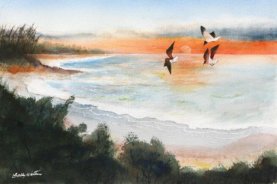 Ocean Painting - Sea Birds by Bobby Walters