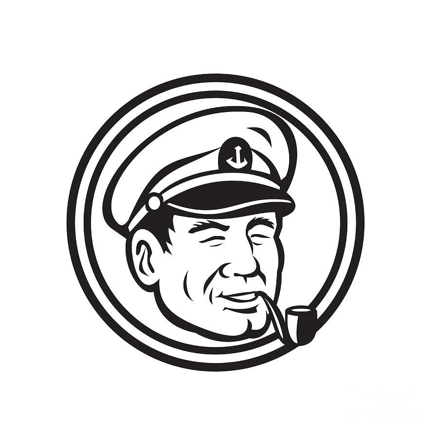 Sea Captain Pipe Smoke Circle Black And White