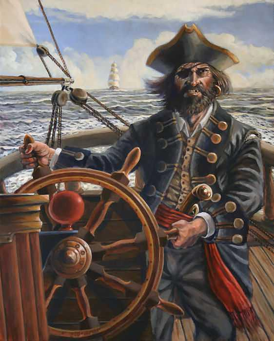 Pirates Painting - Sea Chase by Dan Mills