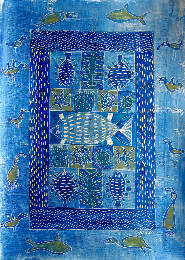 Sea Painting - Sea Creatures II by Aliza Souleyeva-Alexander