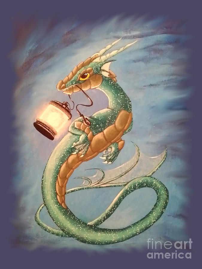 Dragon Painting - Sea Dragon And Lantern by Mary Hoy