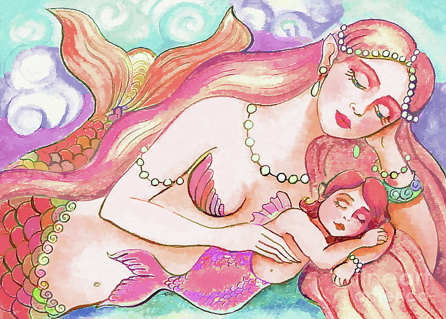 Mermaid Mother Painting - Sea Dream by Eva Campbell