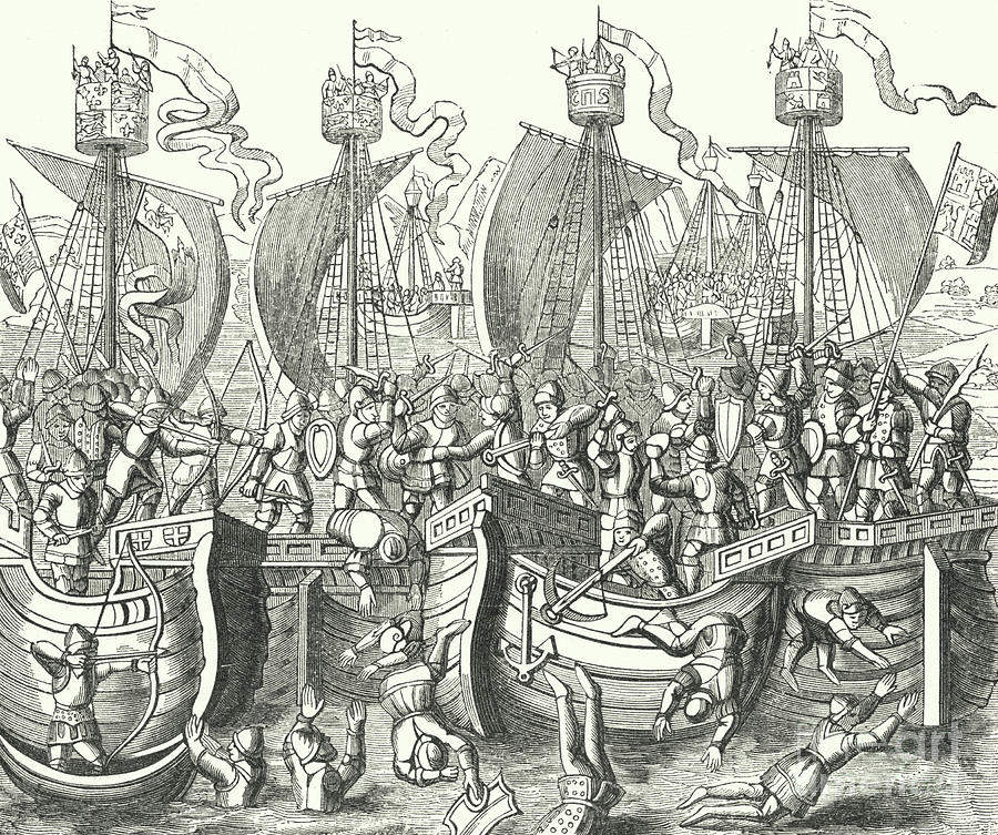 Engraving Drawing - Sea Fight off La Rochelle by English School