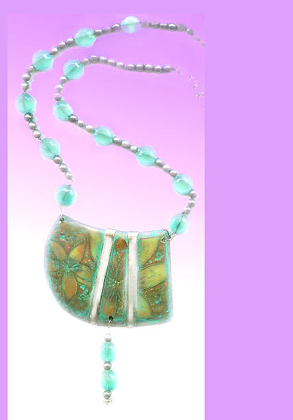 Polymer Clay Jewelry - Sea Flower Necklace by Gertrude Palmer