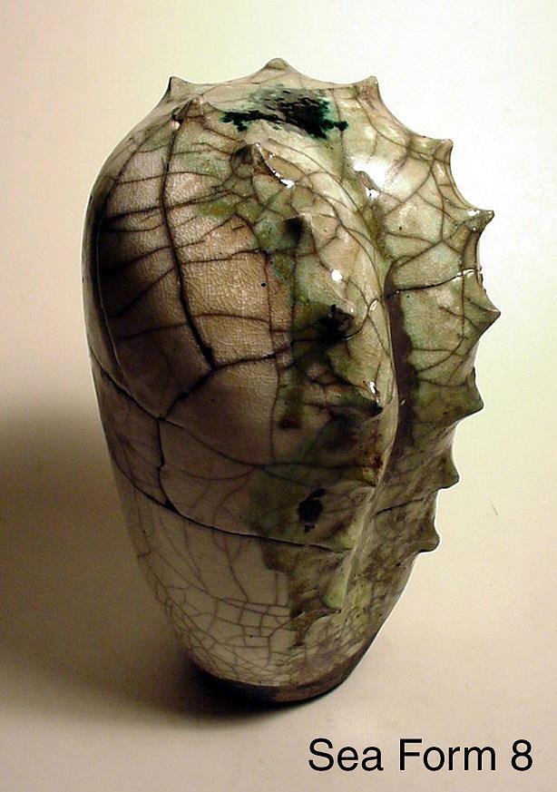 Raku Sculpture - Sea Form 8 by Skip Bleecker