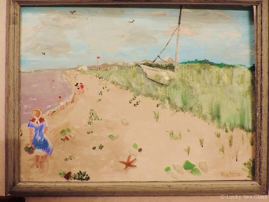 Beach Scene Painting - Sea Glass Hunting by Jean Forman