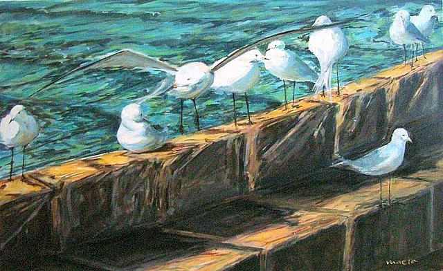 Sea Gulls Gaviotas Painting by Ramon del Rey  Maeso