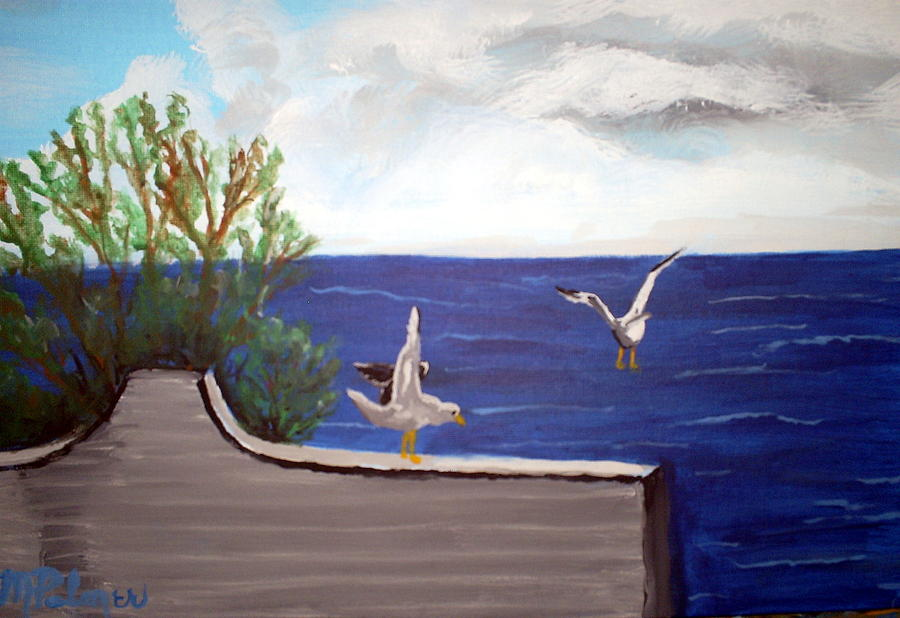 Land Scape Painting - Sea Gulls by Margaret Palmer