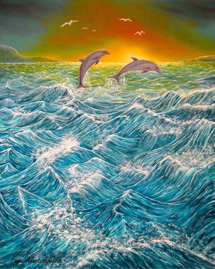 Dolphins Painting - Sea In Action by Faye Anastasopoulou