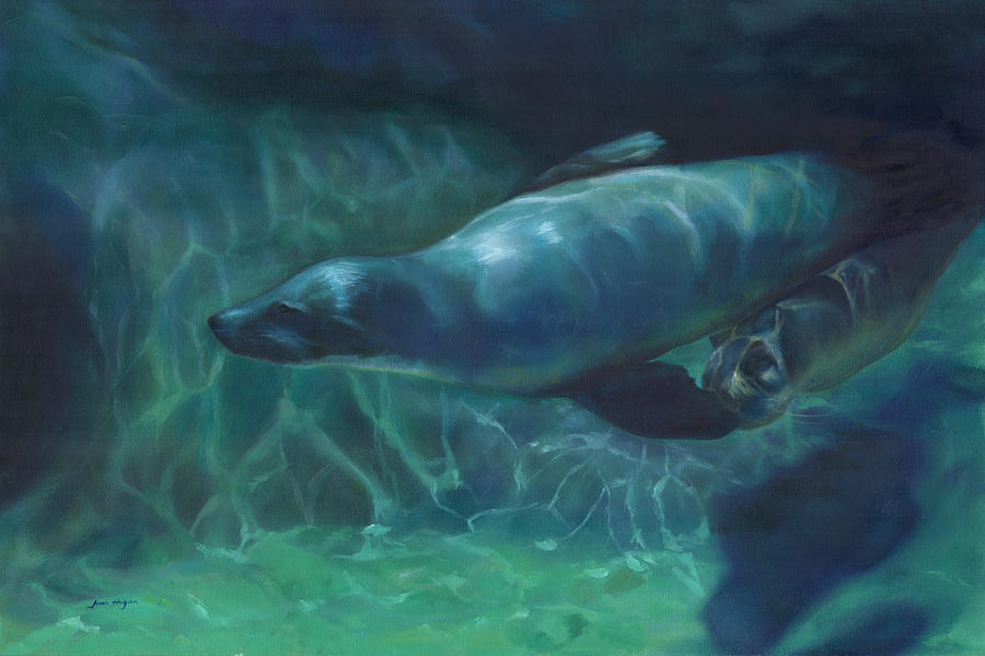 Ocean Painting - Sea Lion Mother And Baby by Joan Hogan