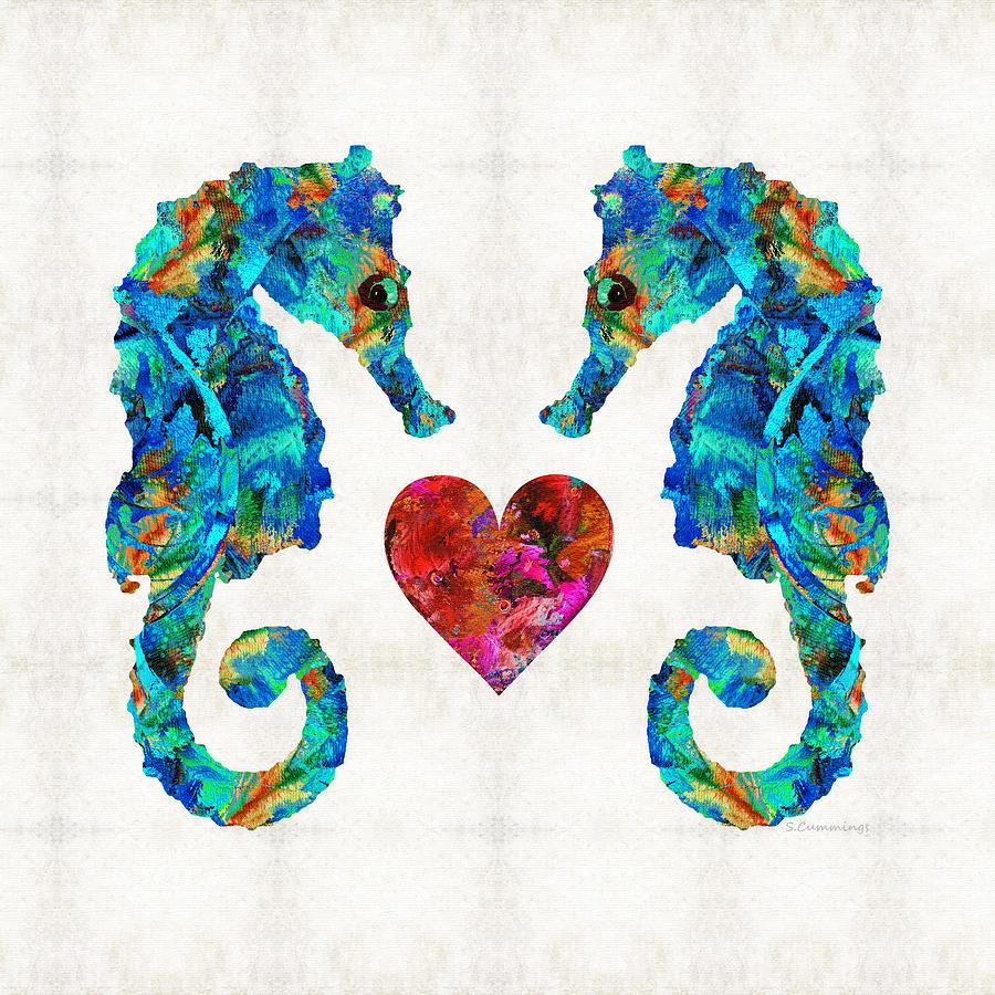 Seahorse Painting - Sea Lovers - Seahorse Beach Art by Sharon Cummings by Sharon Cummings