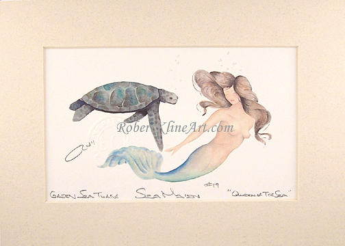 Mermaid Painting - Sea Maiden 19 Queen Of The Sea With Sea Turtle by Robert Kline