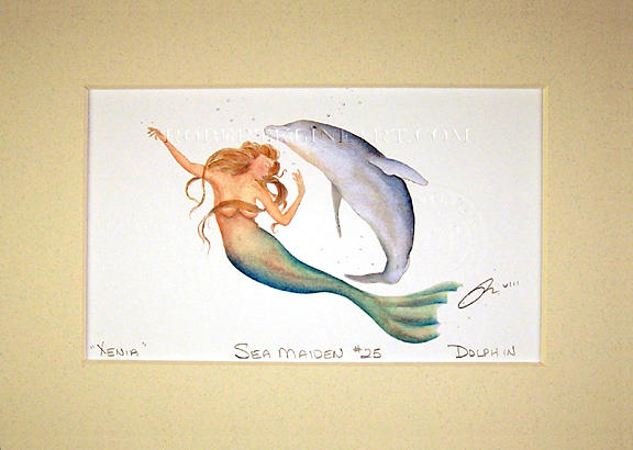Mermaid Painting - Sea Maiden 25 Xenia With Dolphin by Robert Kline