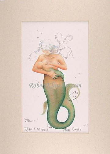 Mermaid Painting - Sea Maiden 36 Jane And Sea Baby by Robert Kline
