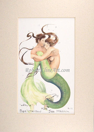 Mermaid Painting - Sea Maiden 38 Leslie And Sea Master 11 Leisurus by Robert Kline