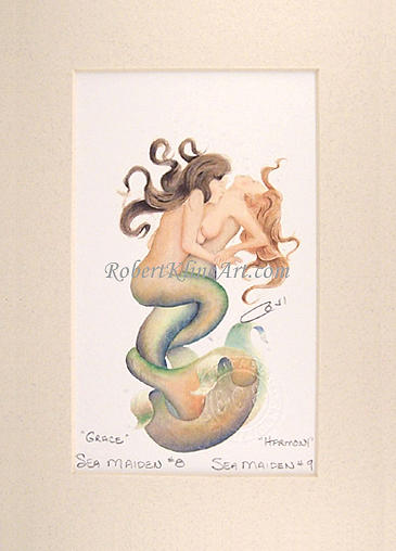 Mermaid Painting - Sea Maidens 8 Grace And 9 Harmony by Robert Kline