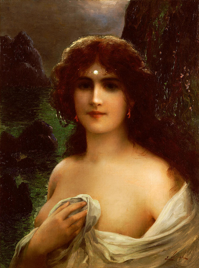 Sea Nymph (oil On Canvas) By Emile Vernon (1872-1919) Female; Nude; Sea; Nympth; Half Length; Pearl; Coast; Coastal; Landscape; Night; Nocturne; Bosom Painting - Sea Nymph by Emile Vernon