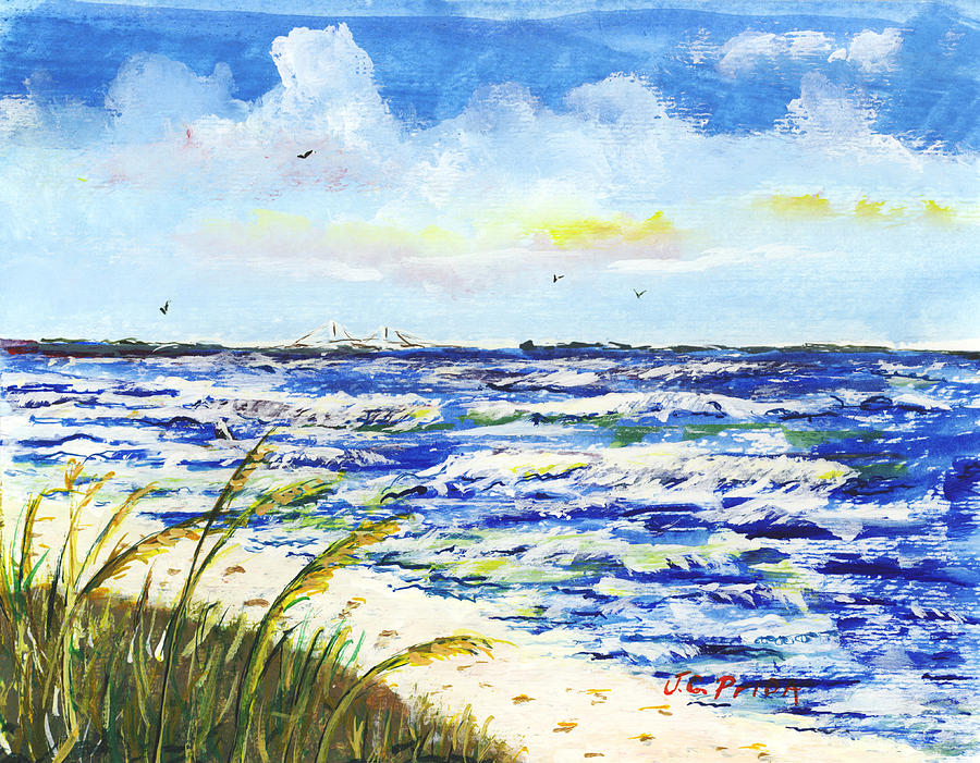Skyway Painting - Sea Oats And Skyway by JC Prida