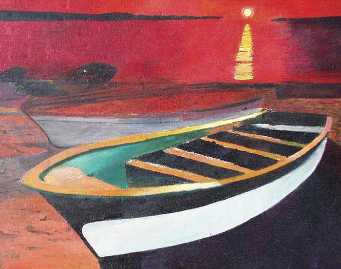 Boats Painting - Sea of Cortez by Ivan P Dobranic