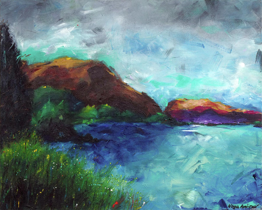 Sea Of Galilee Painting - Sea Of Galilee And Mt Arbel by Noga Ami-rav