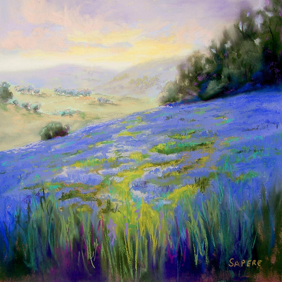 Lupine Painting - Sea of Lupines by Lynee Sapere