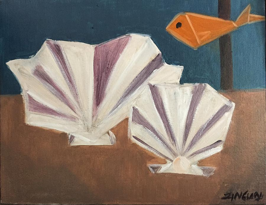 Shell Painting - Sea origami by Ramya Sundararajan