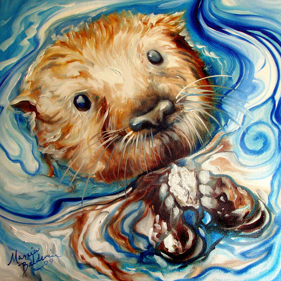 Sea otter swim painting by marcia baldwin for Sea life paintings artists