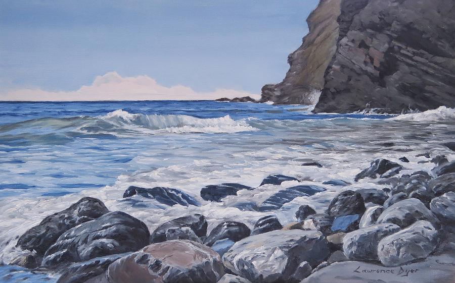 Sea Painting - Sea Pounded Stones At Crackington Haven by Lawrence Dyer