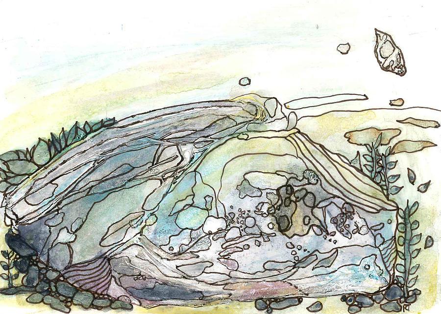 Ocean Painting - Sea Rock by Katie Ree