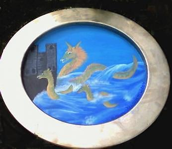 Sea Serpents Sighted Through Porthole Painting by Ginger Strivelli