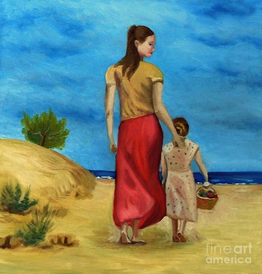 Woman Painting - Sea Side Walk After Pino by Kostas Koutsoukanidis