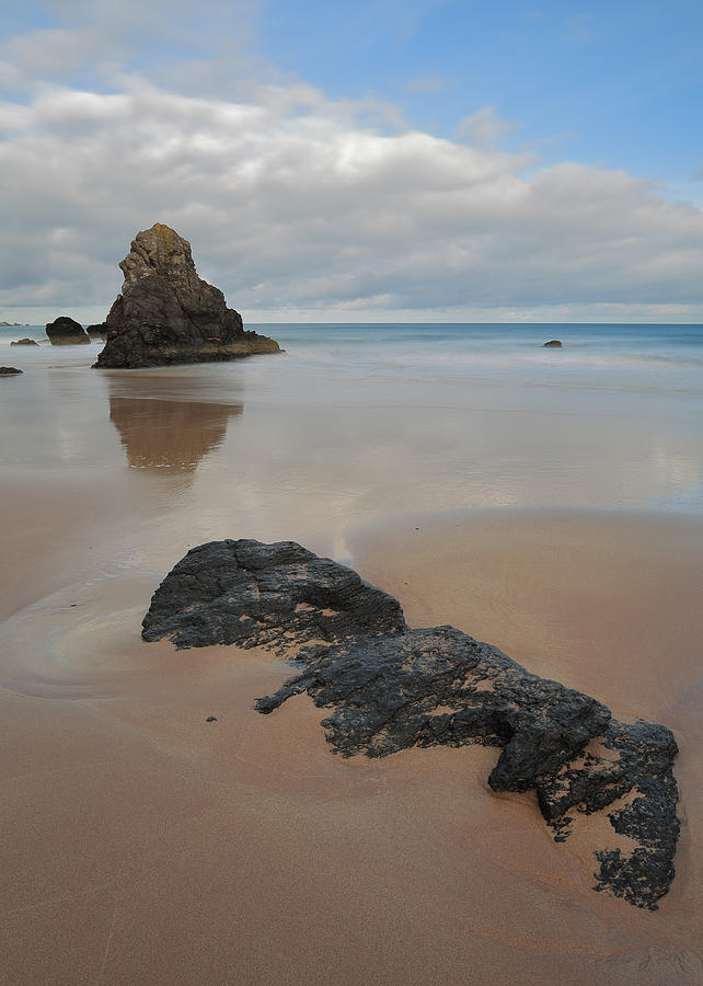 Durness Photograph - Sea Stack And Jurassic Looking Rock On Sango Bay by Maria Gaellman