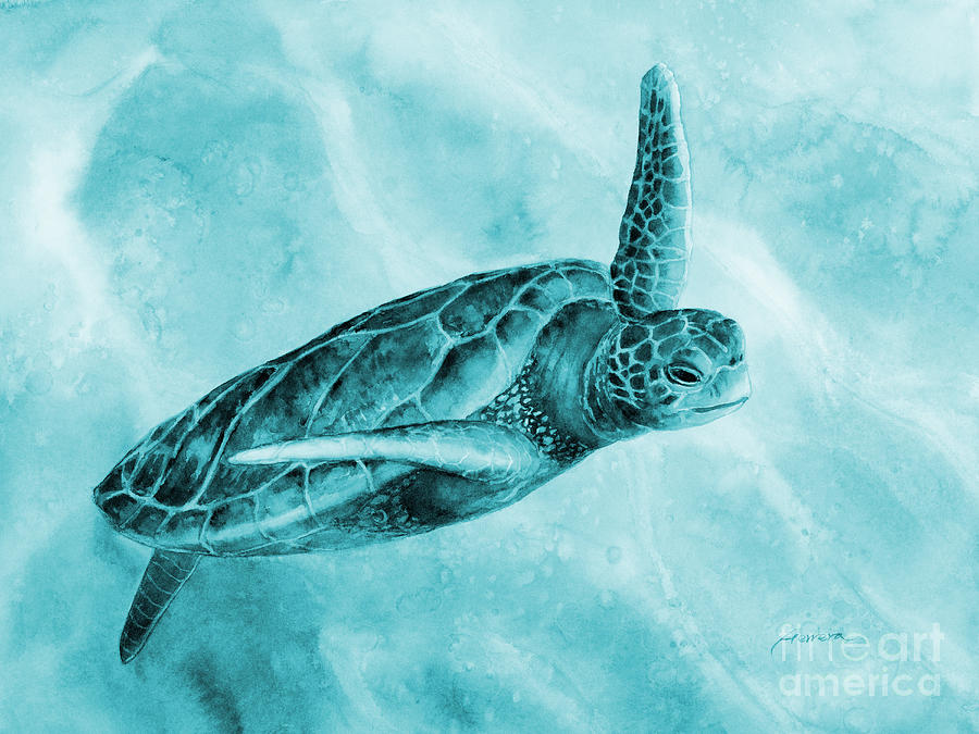 Mono Painting - Sea Turtle 2 in Blue by Hailey E Herrera