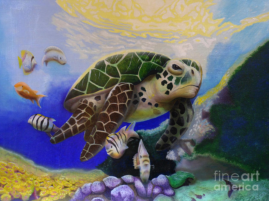 Sea Turtle Acrylic Painting by Thomas J Herring