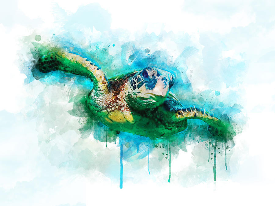 Turtle Digital Art - Sea Turtle  by Aged Pixel