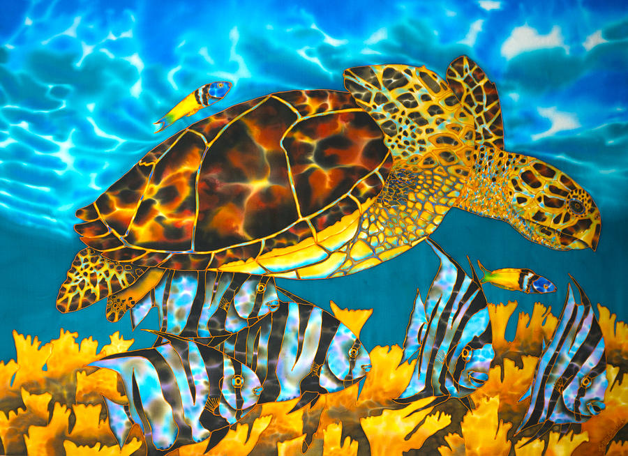 Abstract Painting - Sea Turtle And Atlantic Spadefish by Daniel Jean-Baptiste