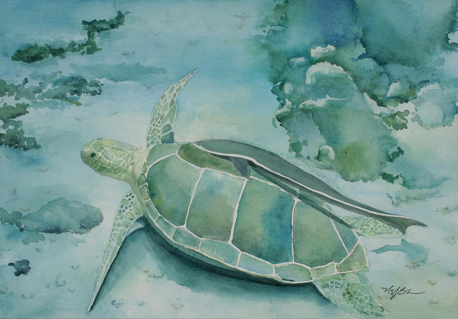 Turtle Painting - Sea Turtle And Friend by Mary Benke
