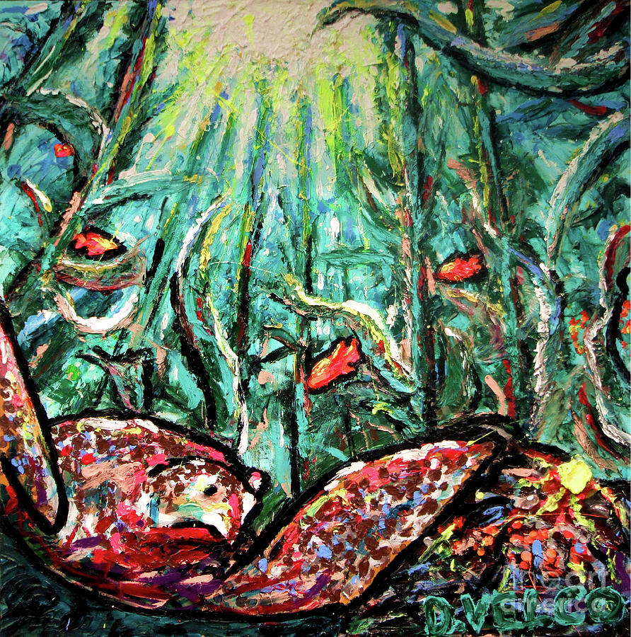 Solar Painting - Sea Turtle And Garibaldi by Dennis Velco