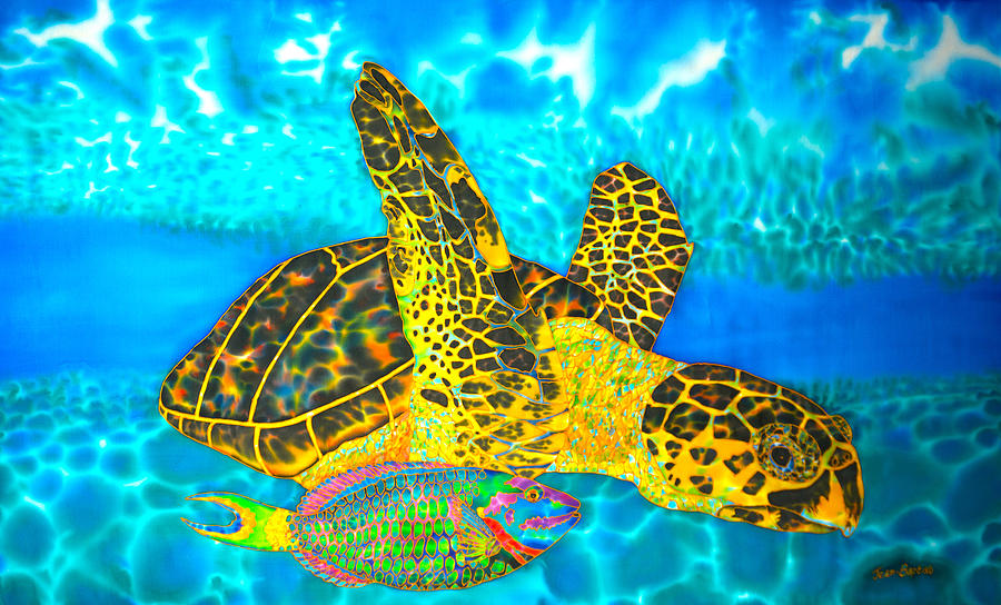 Abstract Painting - Sea Turtle and Parrotfish by Daniel Jean-Baptiste