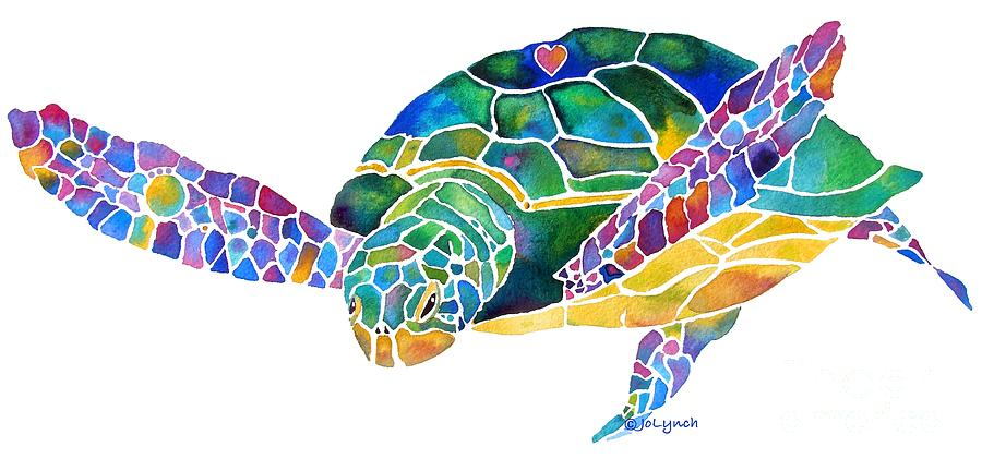Sea Turtle Painting - Sea Turtle Celebration 4 Prints Only by Jo Lynch