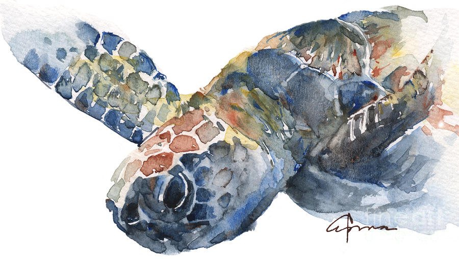 Sea Turtle Painting - Sea Turtle - Large Size by Claudia Hafner