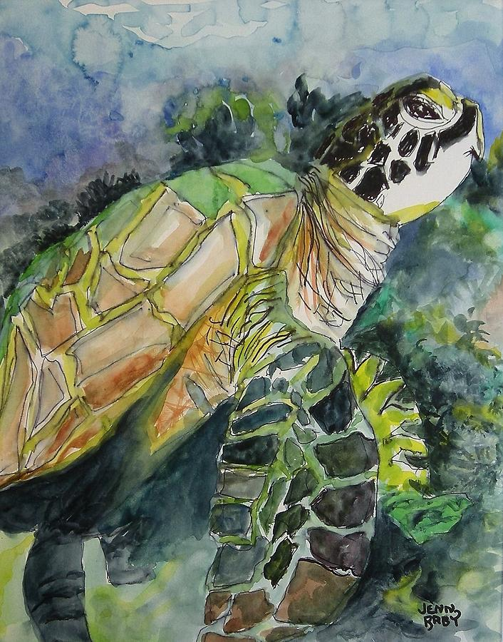 Sea Turtle in the Surf by Jennifer Raby