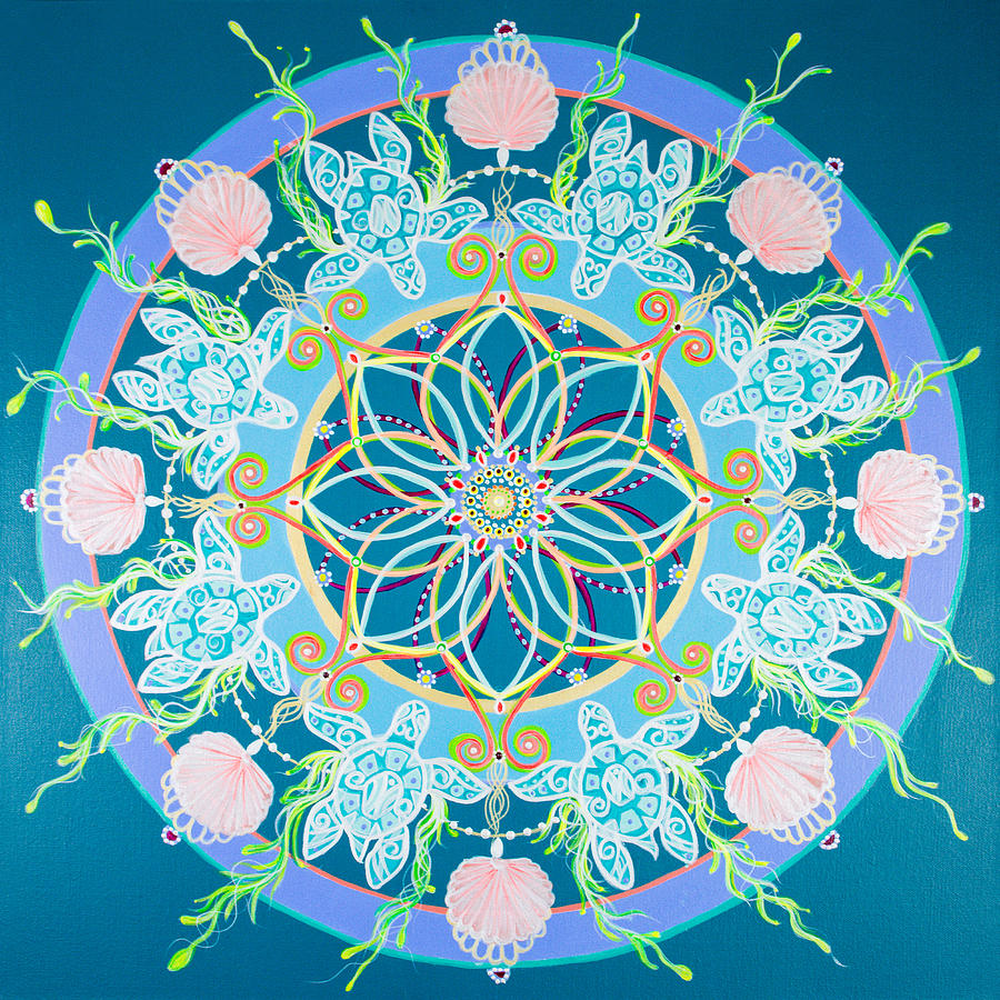 Sea Turtle Painting - Sea Turtle Mandala  by Angel Fritz
