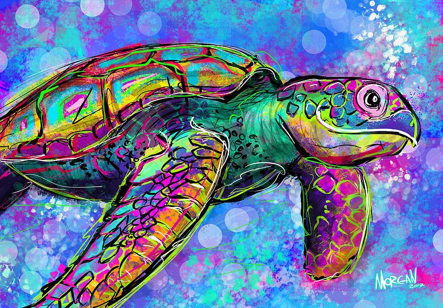 Ocean Digital Art - Sea Turtle by Morgan Richardson
