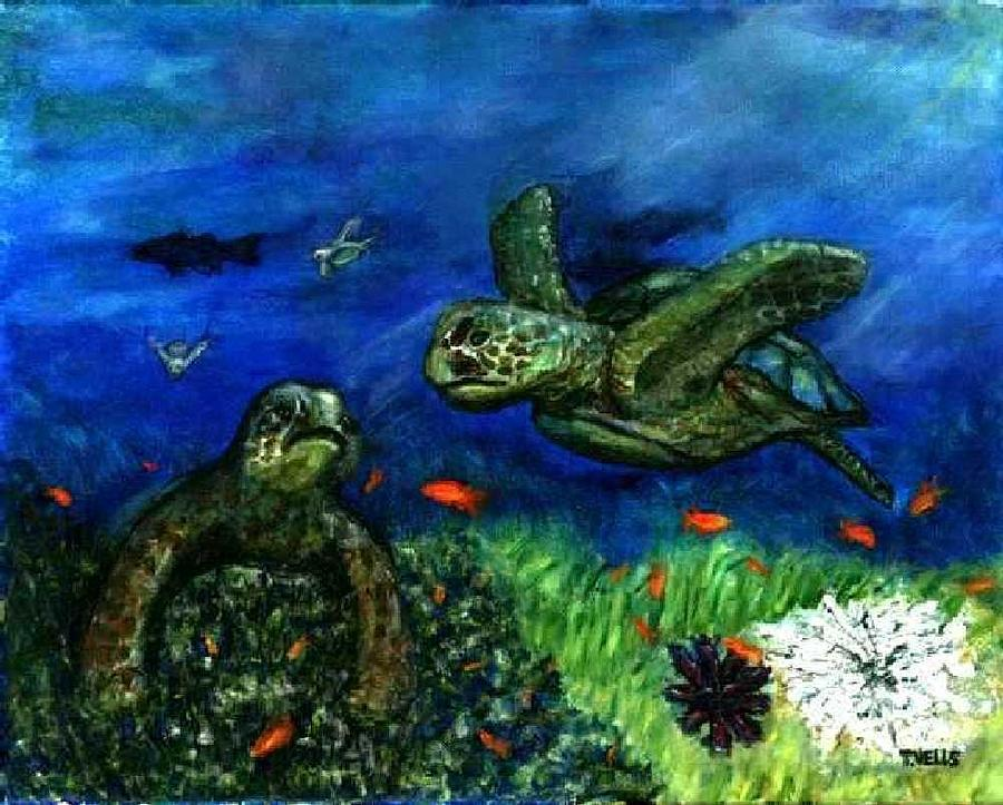 Sea Turtle Painting - Sea Turtle Rendezvous by Tanna Lee M Wells