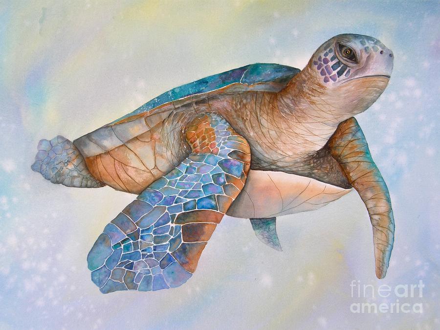 Sea Turtle Painting - Sea Turtle- Twilight Swim by Midge Pippel