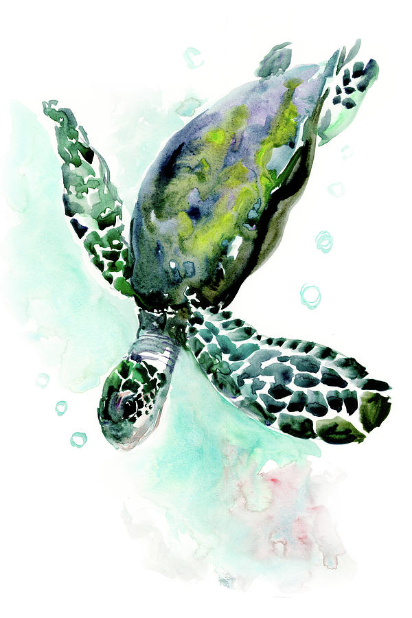 Sea Turtle Underwater Scene Design Beautiful Turtle Gift Painting By