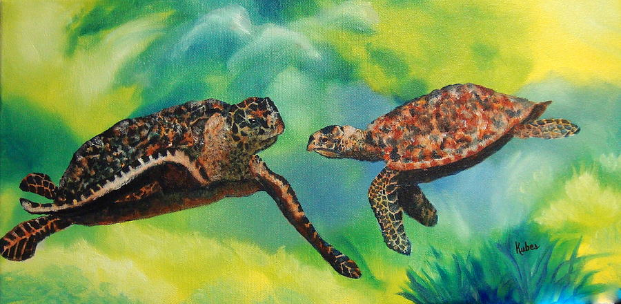 Ocean Painting - Sea Turtles and Dolphins by Susan Kubes