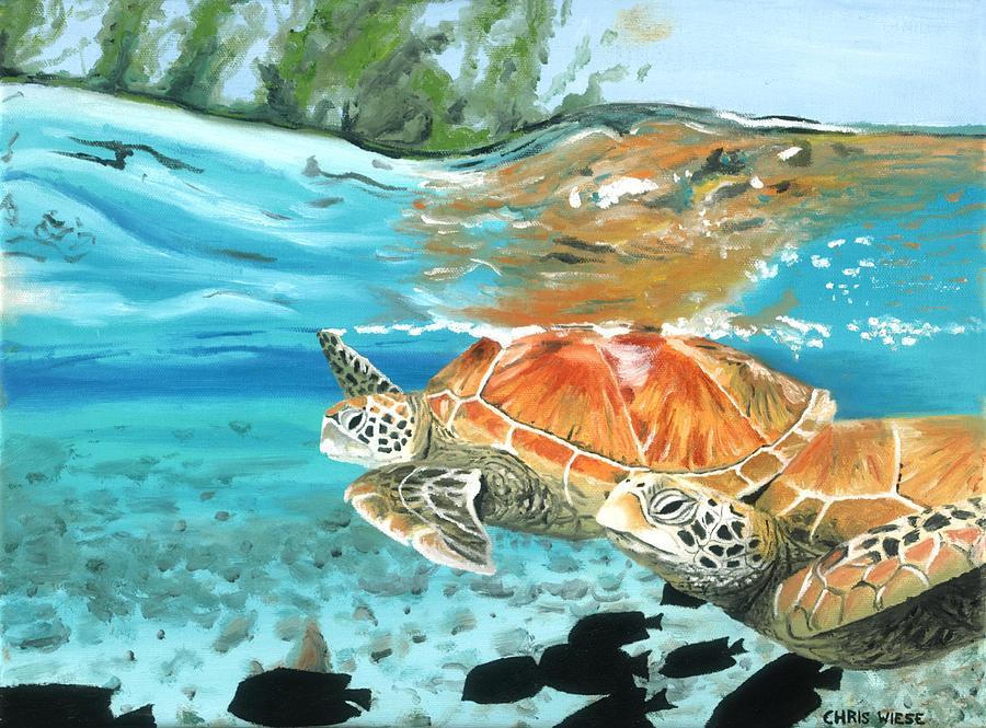 Sea Turtles Painting - Sea Turtles by Chris Wiese